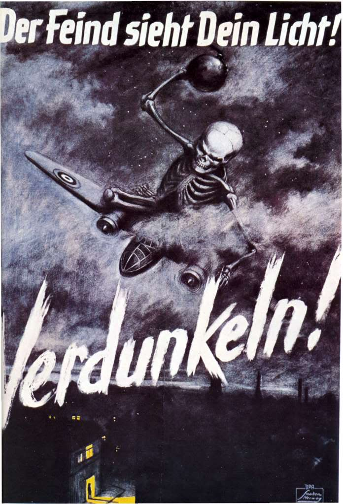 "World War II - German Propaganda Poster - """"Darken! The enemy sees your light!"""