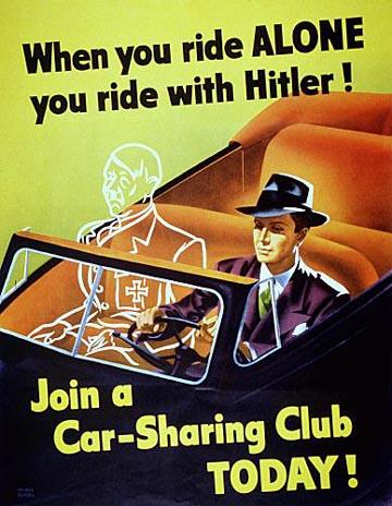 World War II Propaganda Poster - When You Ride Alone, You Ride With Hitler