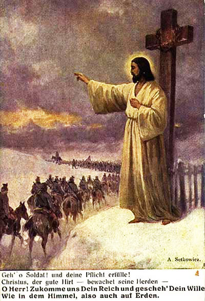 World War I Propaganda Poster - Jesus Blesses the German Army