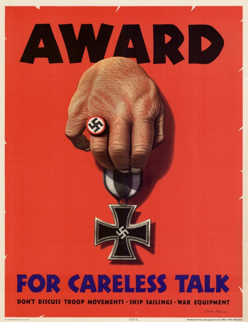 World War II Propaganda Poster - Award for Careless Talk