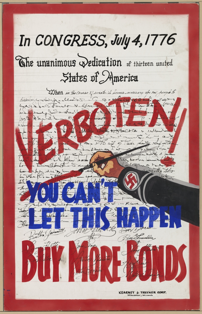 World War II Propaganda Poster - Declaration of Independence Verboten - Buy More Bonds!