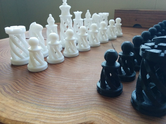 3D Printed Spiral Chess Pieces