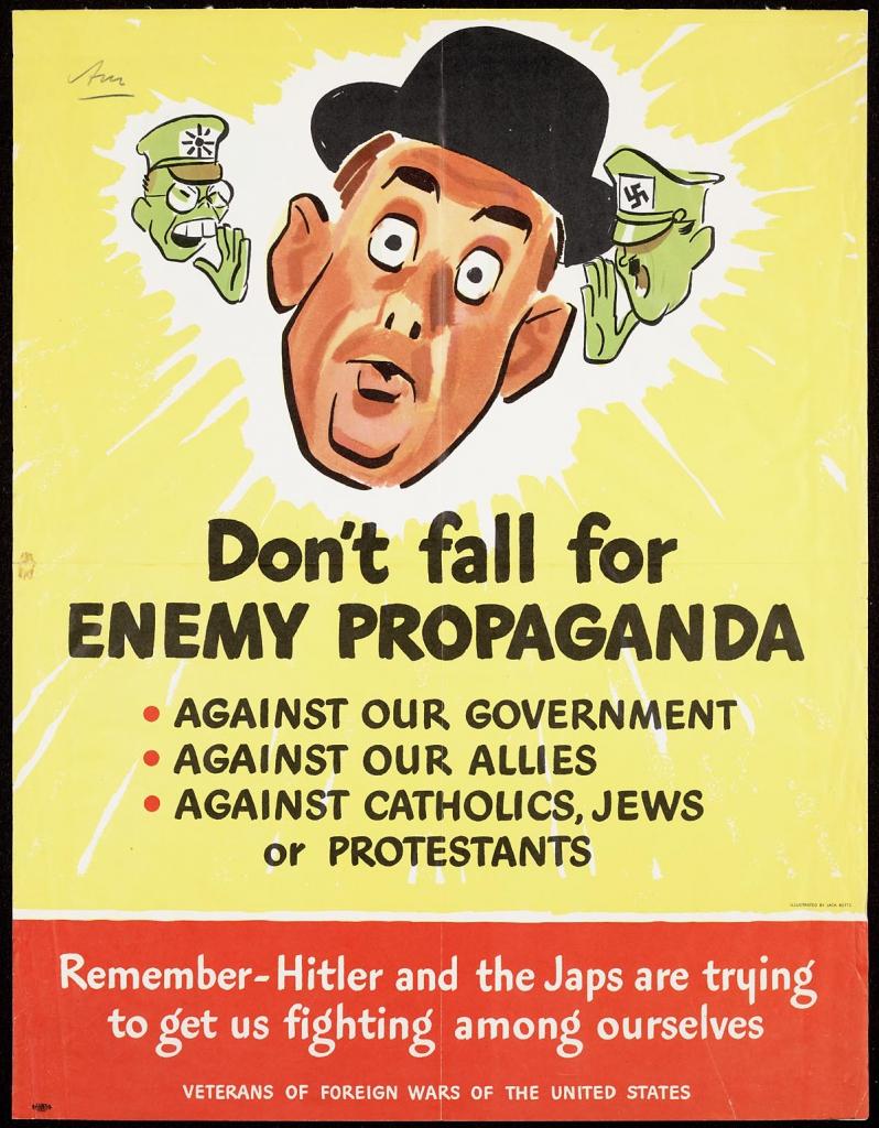 World War II Propaganda Poster - Don't Fall for Enemy Propaganda