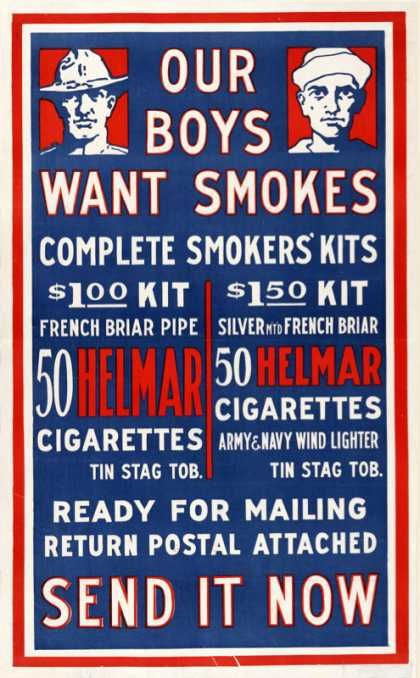 World War I Propaganda Poster - Our Boys Need Smokes