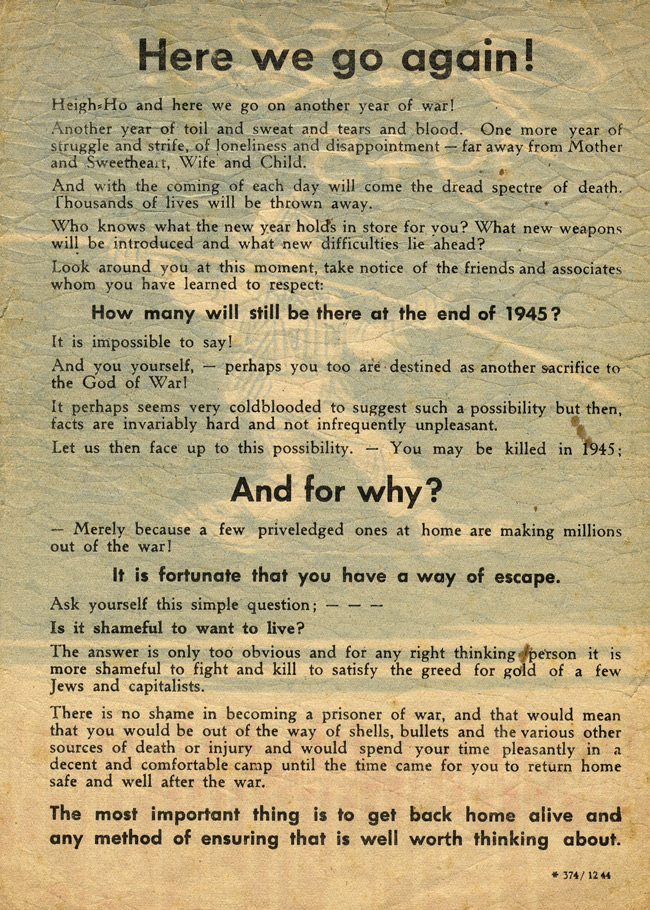 German World War II Propaganda Leaflet