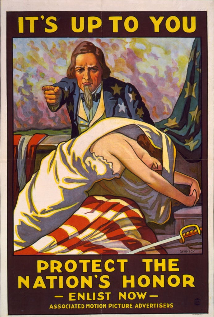 World War I Propaganda Poster - It's Up To You; Protect The Nation's Honor; Enlist Now