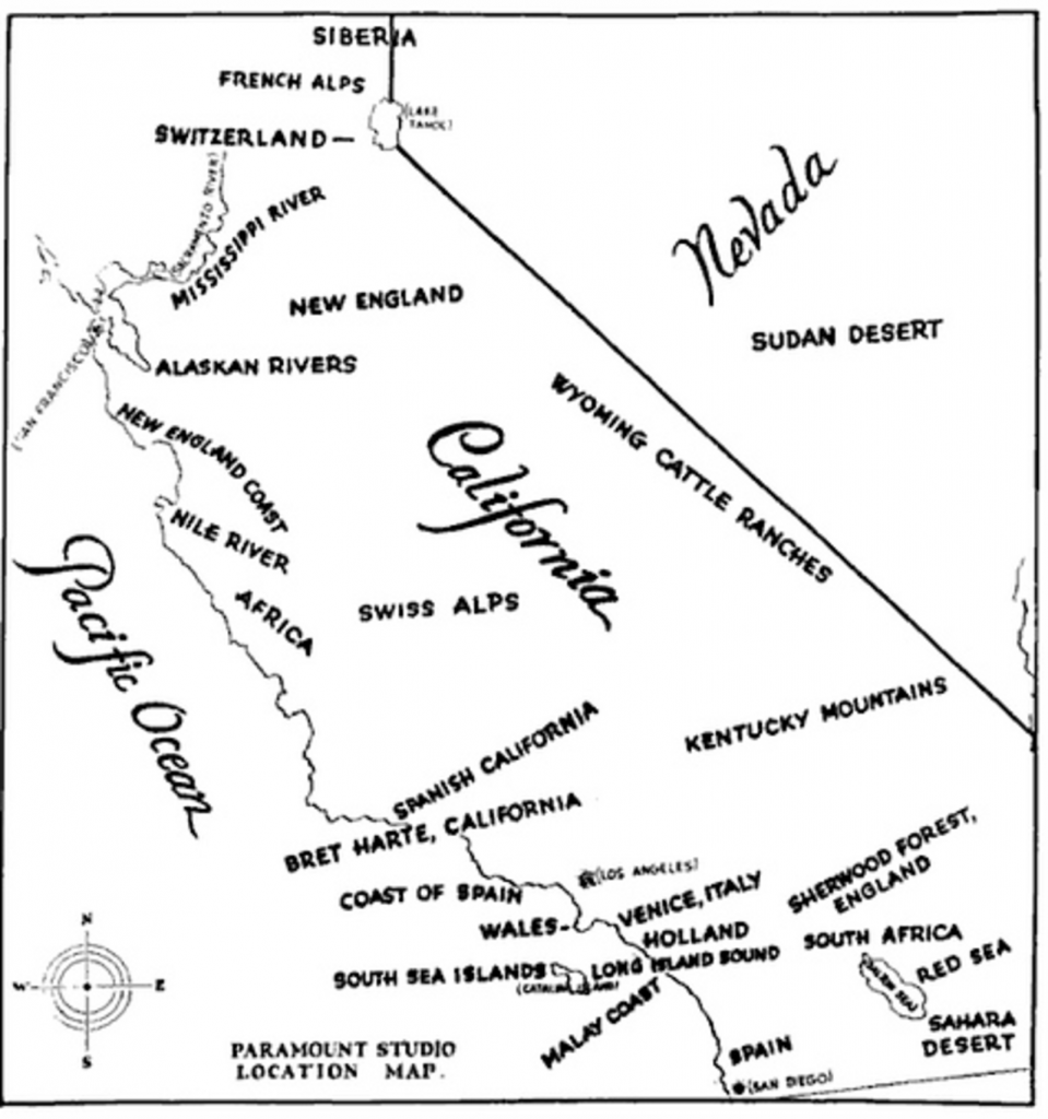 1927 Hollywood Studio Map of Filming Locations