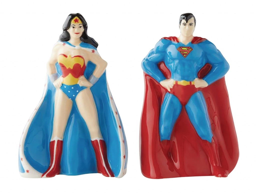 Superman and Wonder Woman Salt and Pepper Shaker Set
