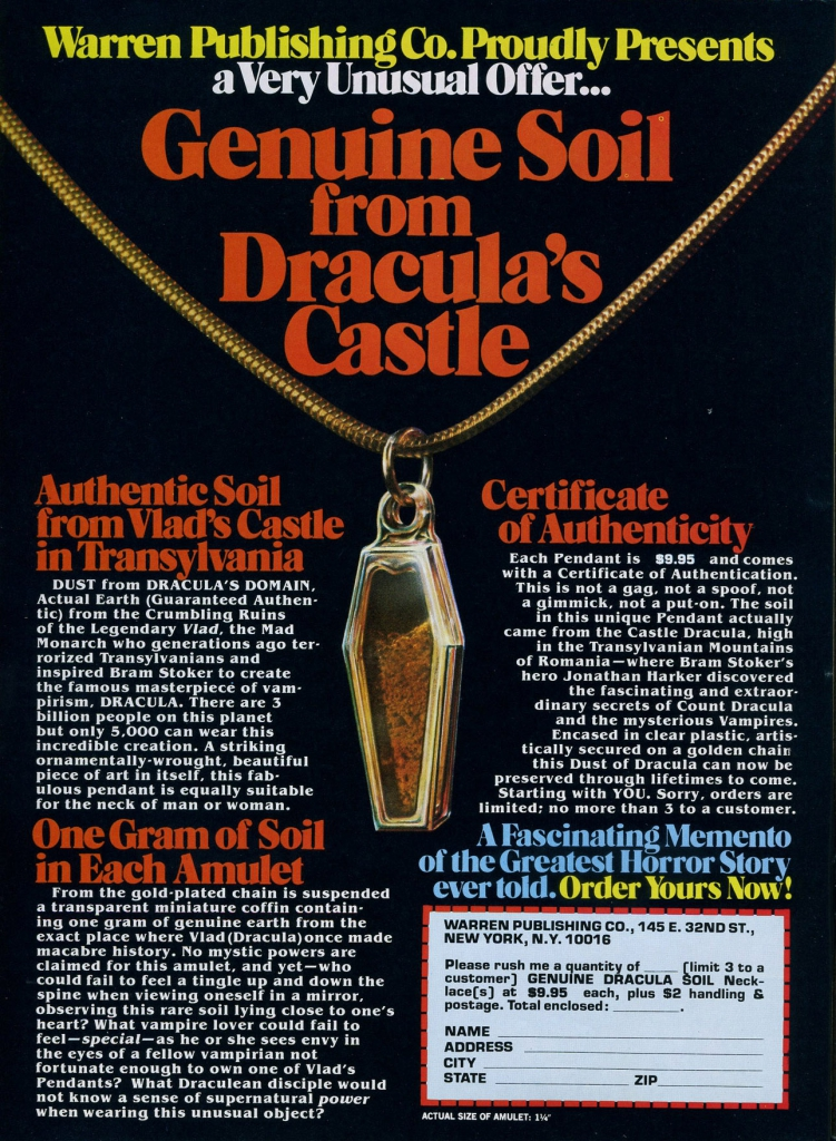 Genuine Soil From Dracula's Castle Ad