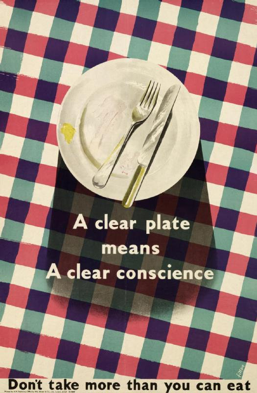 World War II Propaganda Poster - A Clear Plate Means A Clear Conscience