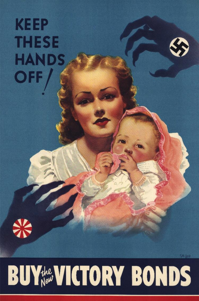 "World War II Propaganda Poster - ""Keep These Hands Off! Buy The New Victory Bonds"""