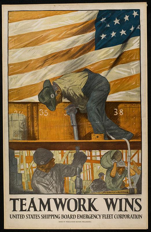 World War I Propaganda Poster - Teamwork Wins