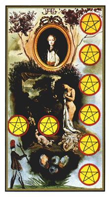 Salvador Dali's Universal Tarot Deck - Eight of Coins