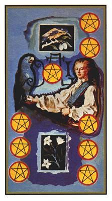 Salvador Dali's Universal Tarot Deck - Nine of Coins