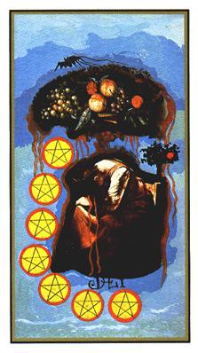 Salvador Dali's Universal Tarot Deck - Seven of Coins