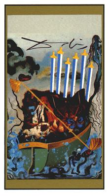 Salvador Dali's Universal Tarot Deck - Six of Swords