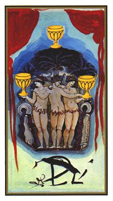Salvador Dali's Universal Tarot Deck - Three of Cups