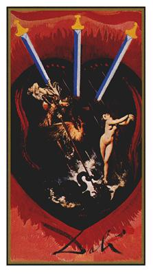 Salvador Dali's Universal Tarot Deck - Three of Swords