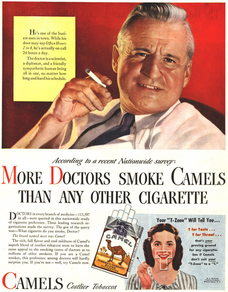 Cigarette Ad: More Doctors Smoke Camels Than Any Other Cigarette
