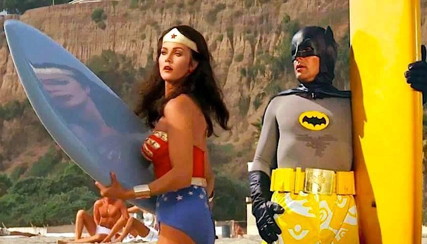 Wonder Woman and Batman at the Beach
