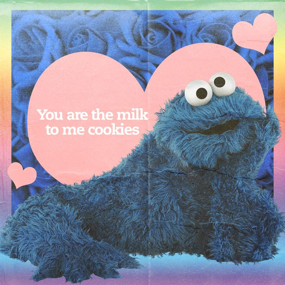 "Cookie Monster Valentine Card - ""You are the milk to me cookies"""