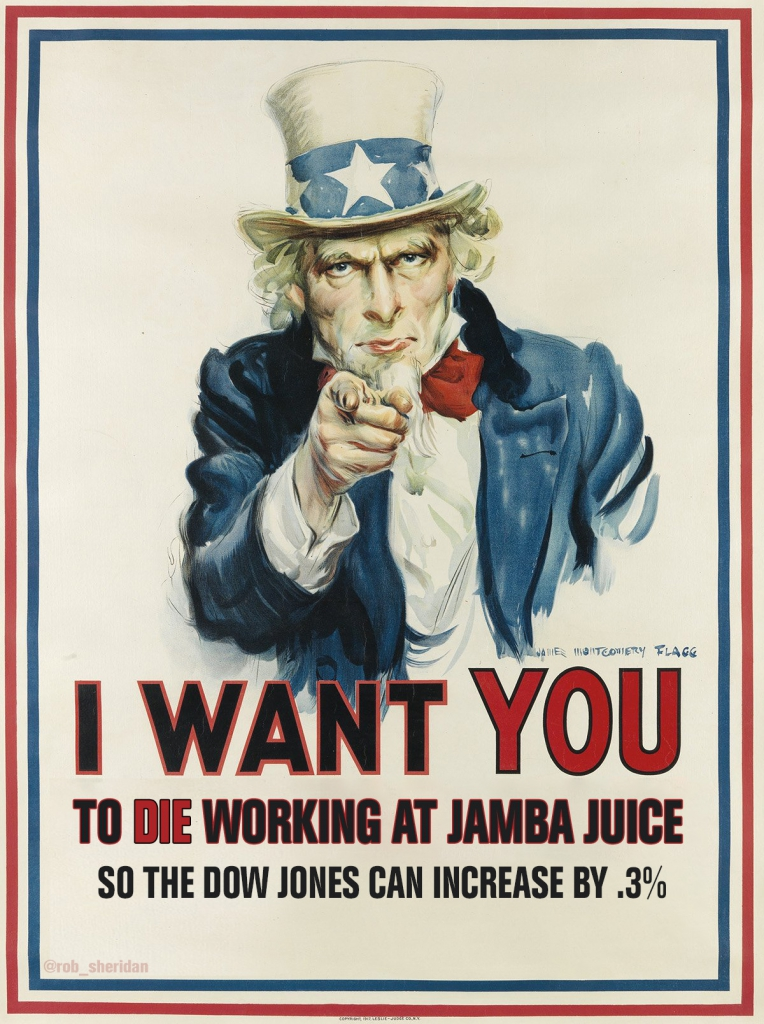 COVID-19 Parody Poster - I Want You To Die Working At Jamba Juice