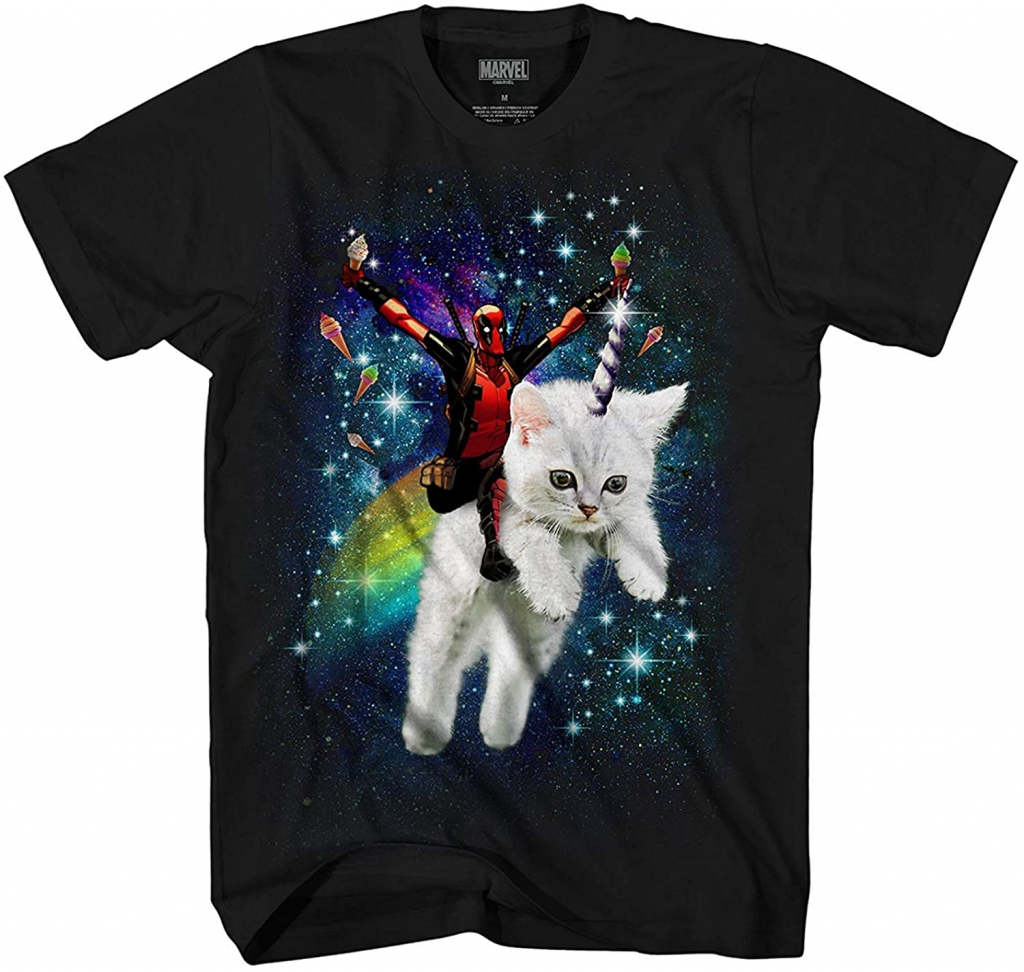 Marvel Deadpool Space Trip Unicorn Kitty T-Shirt