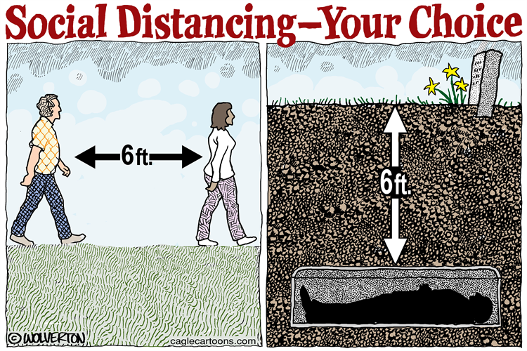Social Distancing - Your Choice Cartoon by Monte Wolverton