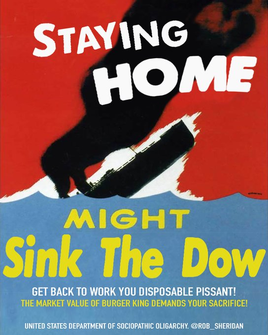 COVID-19 Parody Poster - Staying Home Might Sink The Dow