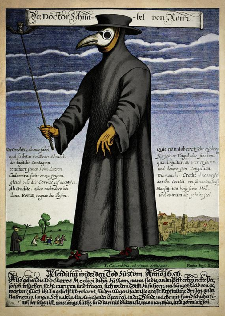 Colour copper engraving of Doctor Schnabel [i.e Dr Beak], a plague doctor in seventeenth-century Rome, published by Paul Fürst, ca. 1656