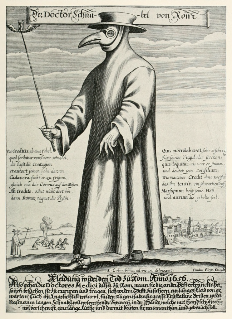Black-and-white copper engraving of Doctor Schnabel [i.e Dr Beak], a plague doctor in 17th-century Rome, ca. 1656