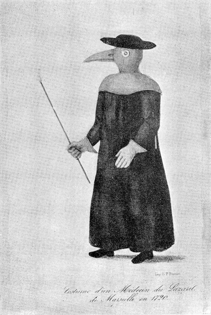 Doctor's outfit at the Lazaret de Marseille, 1720.