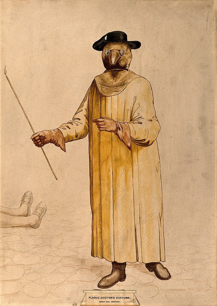A physician wearing a 17th-century plague costume, as imagined in 1910