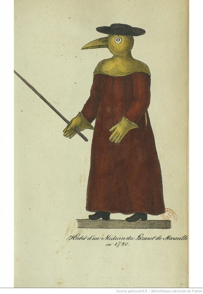 Doctor in plague costume during the plague epidemic of 1720 in Marseille. Drawing first published in 1826 in the Guide sanitaire des gouvernemens européens by Louis-Joseph-Marie Robert.