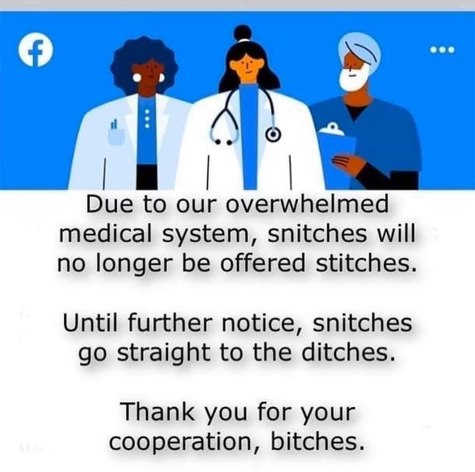 Snitches No Longer Get Stitches