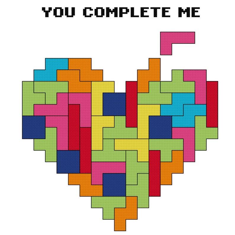 Tetris - You Complete Me Cross Stitch Pattern