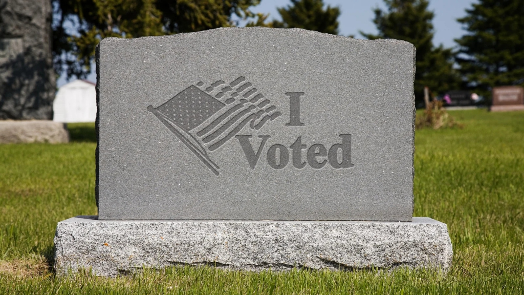 "The Onion - ""I Voted"" Gravestone"