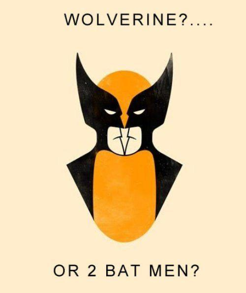 Super Hero Optical Illusion: Wolverine Or 2 Bat Men?