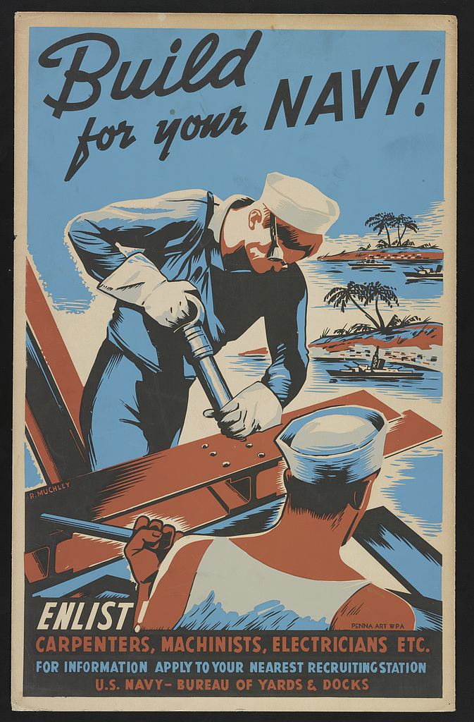 World War II Propaganda Poster - Build For Your Navy!