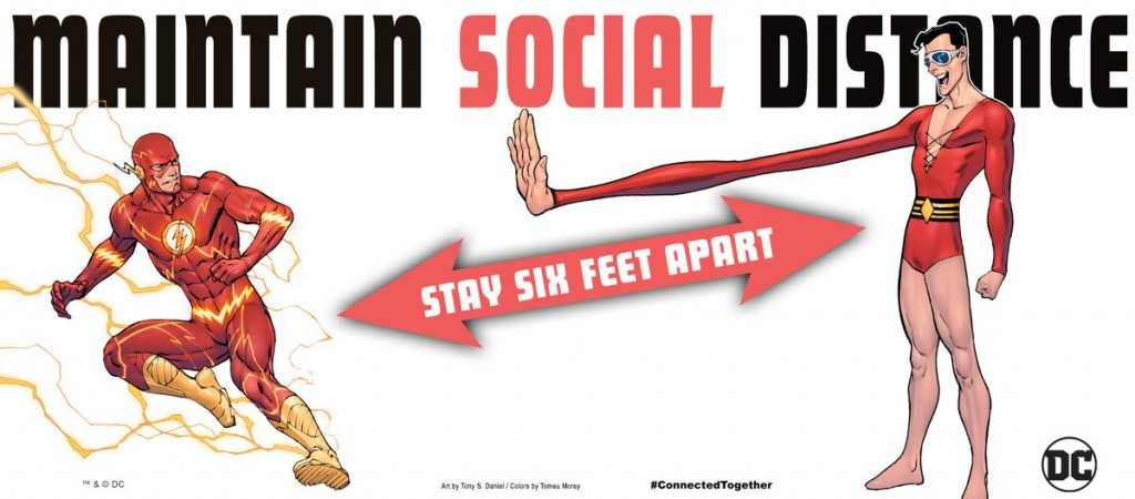 DC Maintain Social Distance Poster - The Flash and Plastic Man