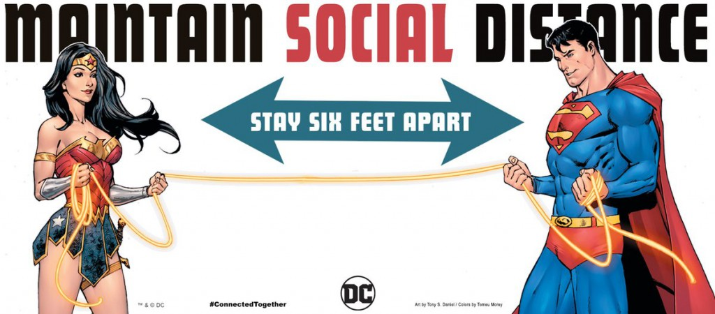 DC Maintain Social Distance Poster - Wonder Woman and Superman