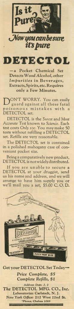 Prohibition Era Ad for Alcohol Purity Detection Kit