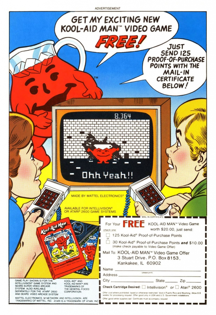 Early 1980s ad: Get My Exciting New Kool-Aid Man Video Game Free