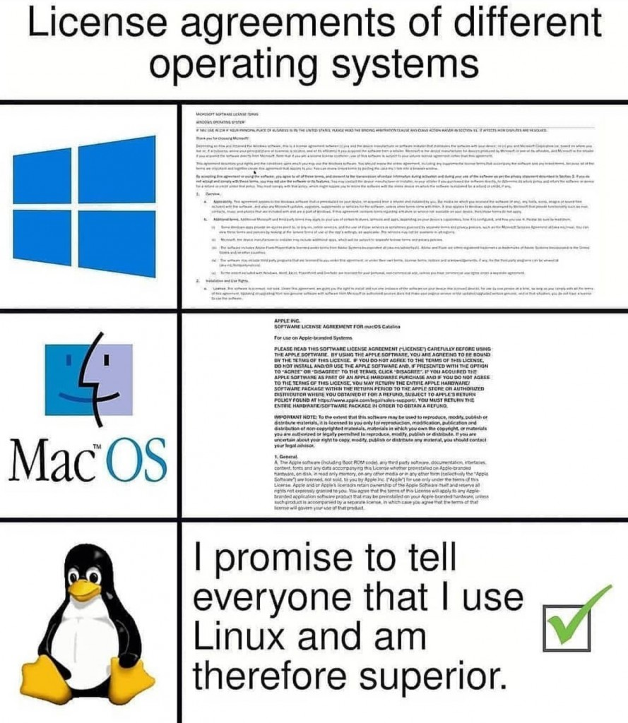 License agreements of different operating systems