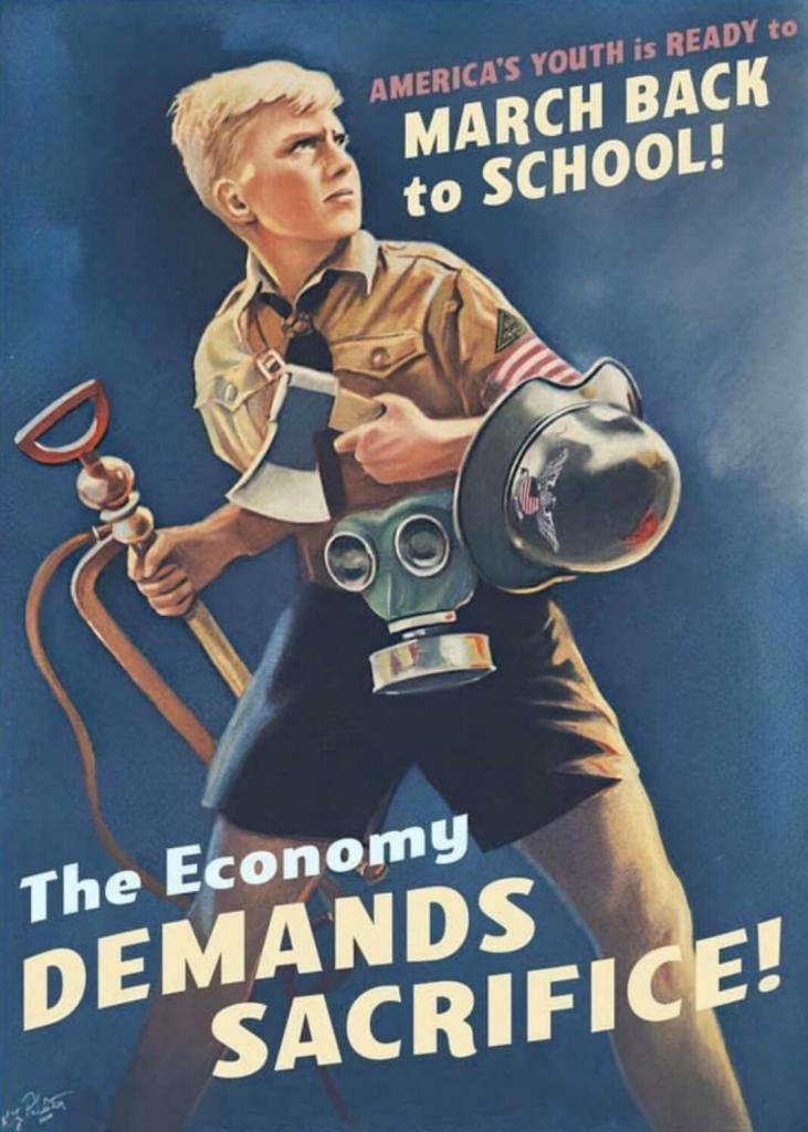 COVID-19 Propaganda Poster - March Back to School!