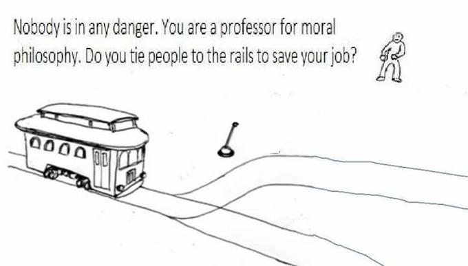 Nobody is in any danger. You are a professor for moral philosophy. Do you tie people to the rails to save your job?