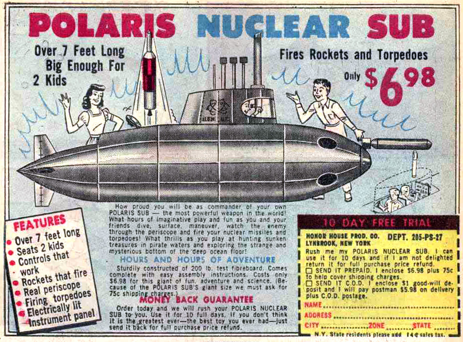 Comic Book Ad for Polaris Nuclear Sub Toy