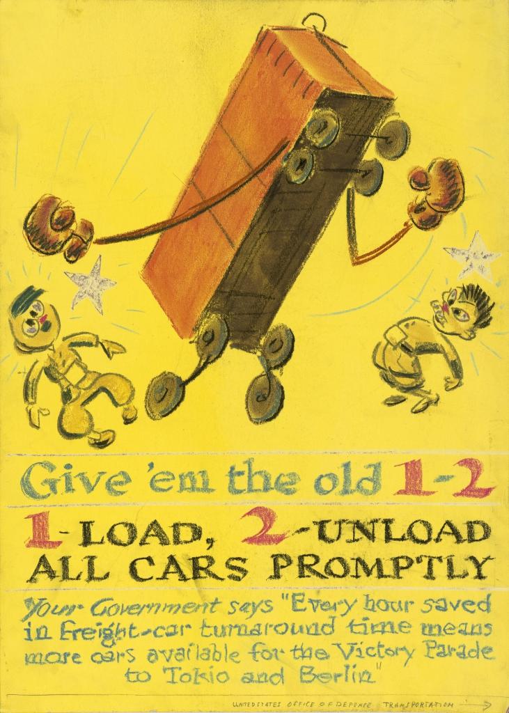 World War II Propaganda Poster - Give 'em the old 1-2