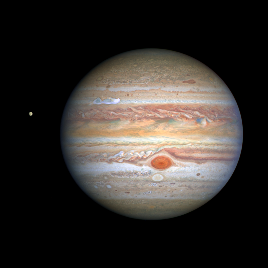 Hubble Telescope Image of Jupiter and Europa - August 25, 2020