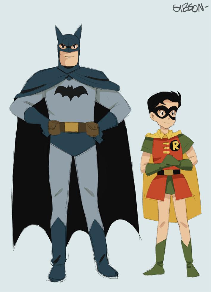 Batman and Robin drawn in the style of Studio Ghibli